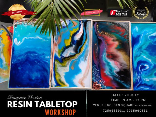 Resin art workshop in Bangalore.