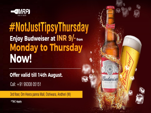 Beer Festival - Budweiser at INR 9/- Only!