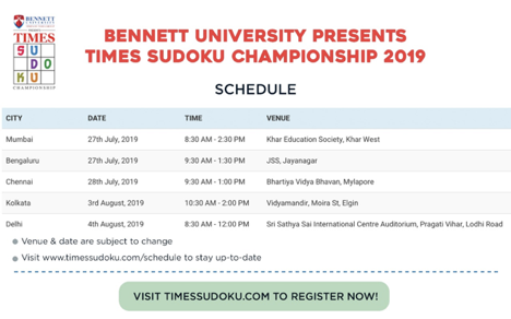 The Times of India returns with 14th Edition of Sudoku Championship in Mumbai