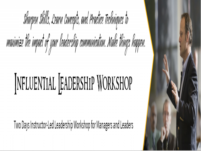 Influential Leadership - Workshop for Managers and Leaders @ Chennai