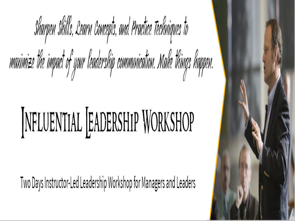 Influential Leadership - Workshop for Managers and Leaders @ Delhi NCR