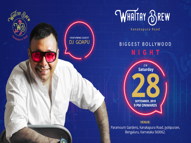 Saturday Biggest Bollywood Night -With Dj Goapu