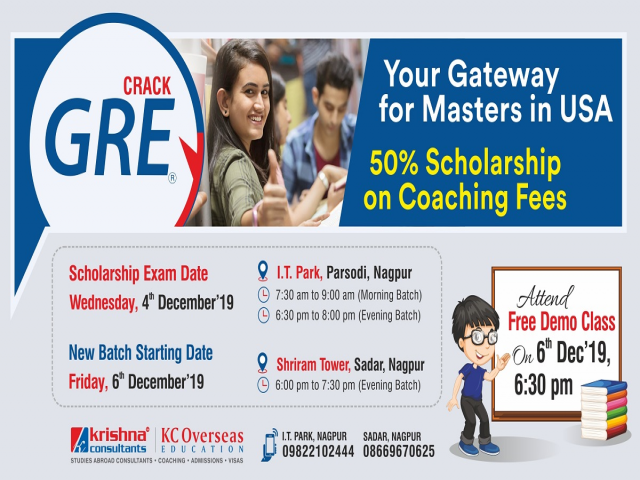 Join GRE Coaching at Krishna Consultants - 6th Dec'19