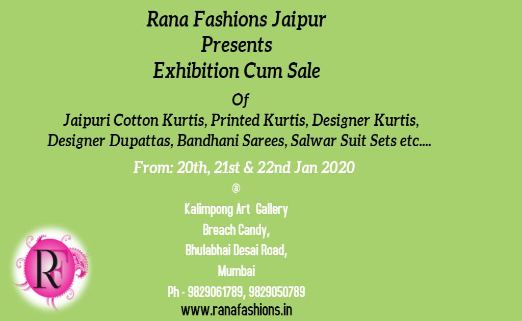 Rana Fashions Jaipur Presents Exhibition Cum Sale