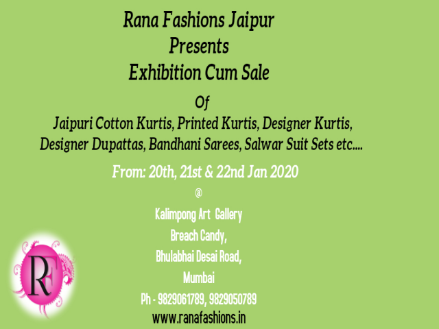 Rana Fashions Jaipur Presents Exhibition Cum Sale