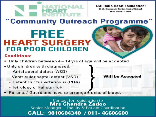 Free Cardiac Surgery For Poor Children