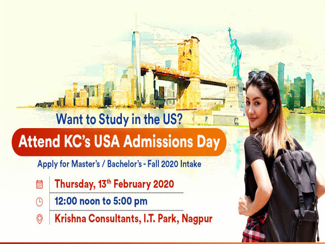 Meet & Apply to 30+ US Universities on 13th Feb 2020 at KC Nagpur