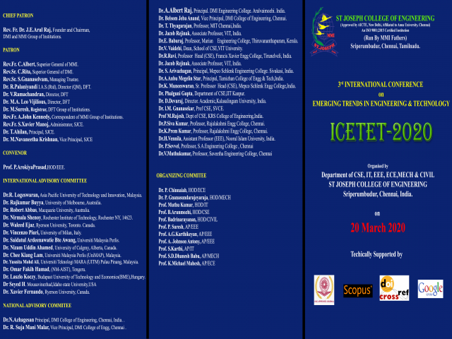 3rd INTERNATIONAL CONFERENCE OF EMERGING TRENDS IN ENGINEERING AND TECHNOLOGY