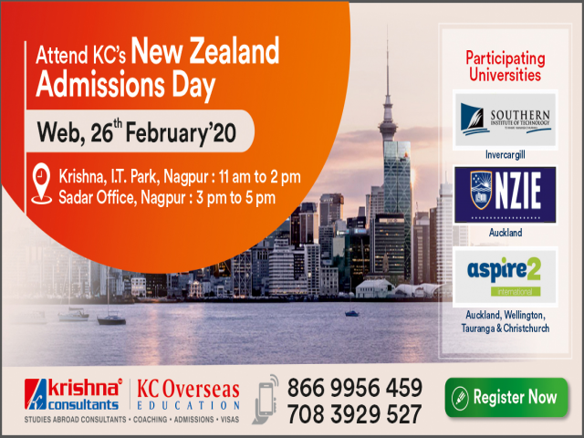 Attend New Zealand Admissions Day on 26th Feb 20 at KC Nagpur