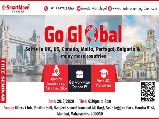 Go Global with SmartMove Immigration & settle in UK, USA,Canada and Europe.