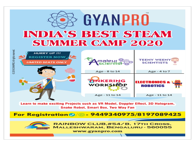GyanPro STEAM Summer Camp 2020  malleshwaram