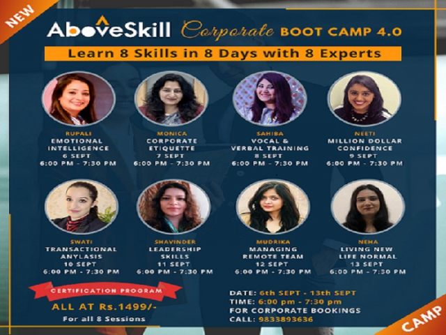 Learn 8 skills in 8 days with 8 experts- Emotional Intelligence, Corporate etc.