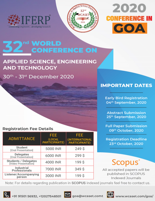 32nd WORLD CONFERENCE ON APPLIED SCIENCE, ENGINEERING AND TECHNOLOGY