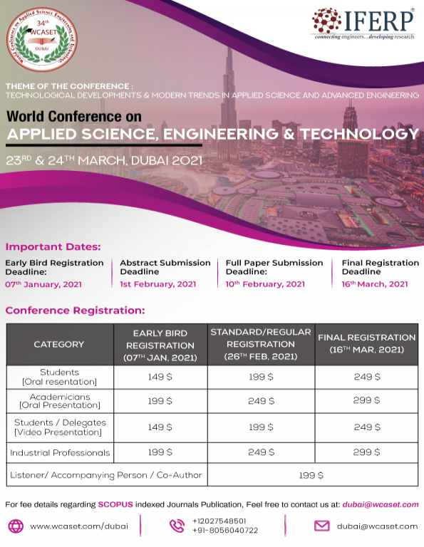 34th World Conference on Applied Science, Engineering and Technology