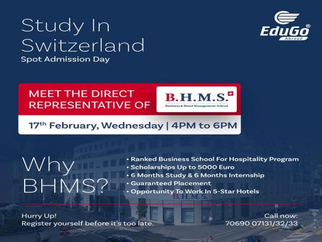 Study In BHMS, Switzerland - Spot Admission Day